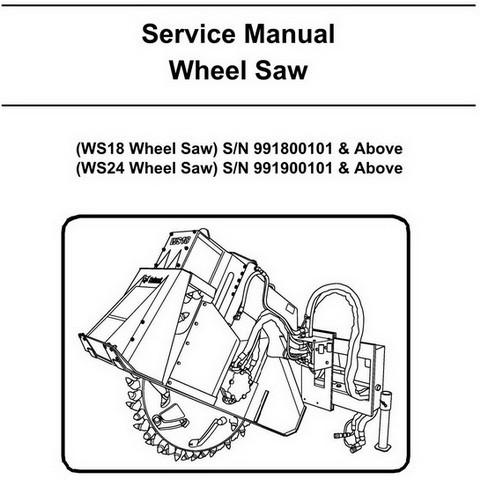 Bobcat WS18-WS24 Wheel Saw Repair Service Manual - 6901389