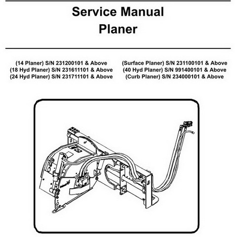 Bobcat Planer Repair Service Manual - 6901087