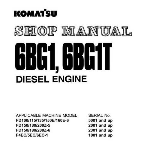 Komatsu 6BG1, 6BG1T Diesel Engine Shop Manual - 6BG1T-BE2