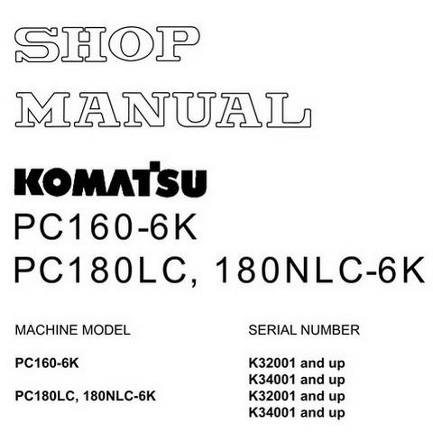 Komatsu PC160-6K, PC180LC-6K, 180NLC-6K Hydraulic Exca