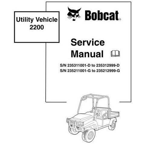 Bobcat 2200 Utility Vehicle Workshop Repair Service Manual - 6903129