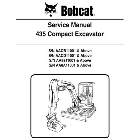 Bobcat 435 Compact Excavator Repair Workshop Service Manual Part Number # 6902331