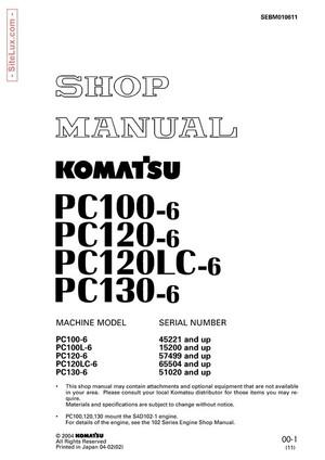 Komatsu PC100L-6, PC100L-6, PC120-6, PC120LC-6, PC130-6 Hydraulic Excavator Shop Manual - SEBM010611
