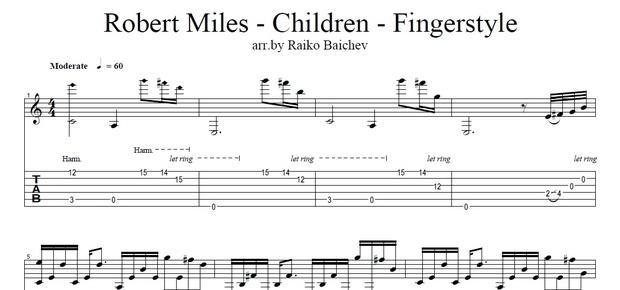 Robert Miles - Children - Fingerstyle Tab - arr. by Raiko Baichev