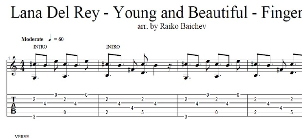 Lana Del Rey - Young and Beautiful - Tabs - arr. by Raiko Baichev