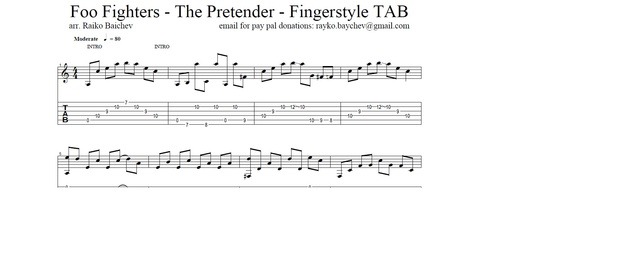Foo Fighters - The Pretender - Fingerstyle TAB