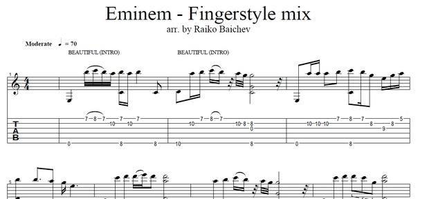 Eminem - Beautiful, Mockingbird, Not Afraid, Till I Collapse (Fingerstyle Tab)