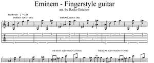 Eminem - Fingerstyle guitar TAB - The Real Slim Shady, Cleaning Out My Closet, Stan, Lose yourself
