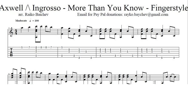 Axwell Λ Ingrosso - More Than You Know - Fingerstyle Tab