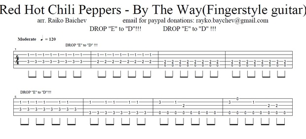 Red Hot Chili Peppers - By The Way - Fingerstyle guitar - TAB