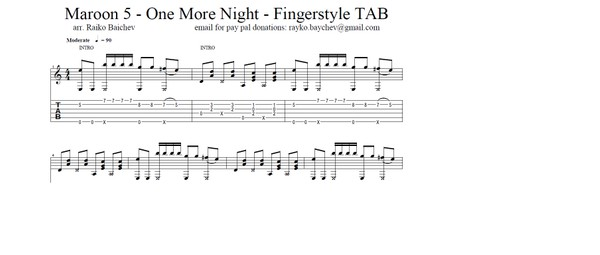 Maroon 5 - One More Night - Fingerstyle Guitar TAB