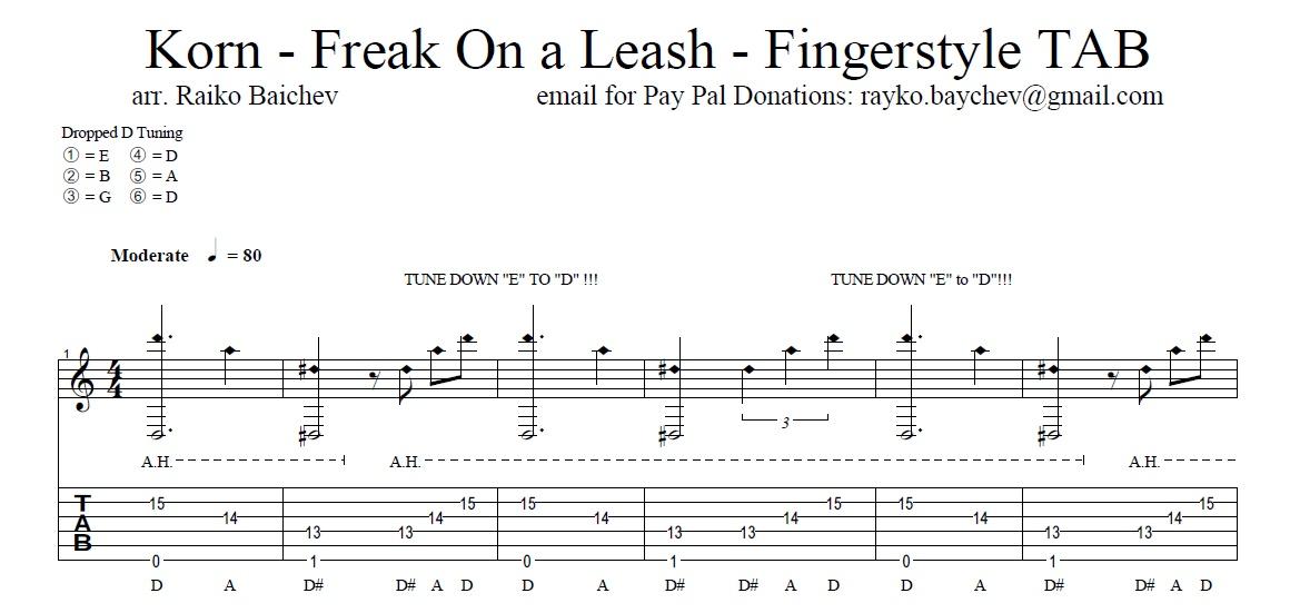 korn freak on a leash guitar pro tab