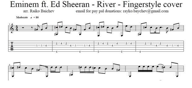 Eminem ft. Ed Sheeran - River - Fingerstyle Tab