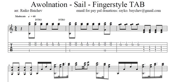 Awolnation - SAIL - Fingerstyle guitar TAB