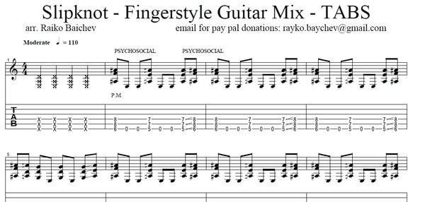 Slipknot - Fingerstyle Guitar Mix