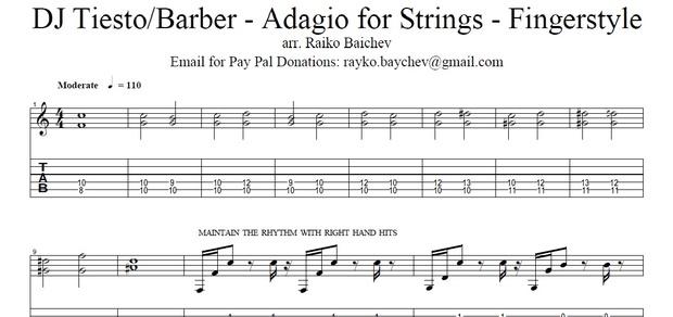 Adagio For Stings - Guitar TAB