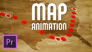 Animated travel line on map | Premiere Pro project file template