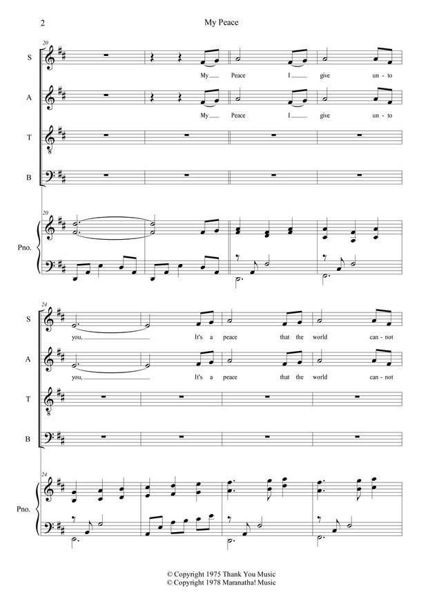My Peace (Piano Accompaniment + Choral Sheet Music)