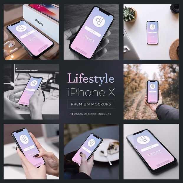 11 Premium iPhone X Lifestyle PSD Mockups