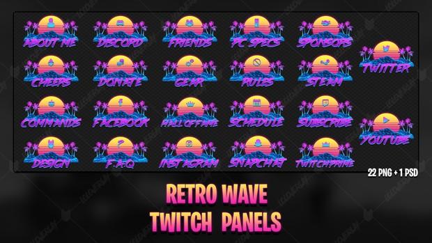 ✅ RETRO WAVE - TWITCH PANELS