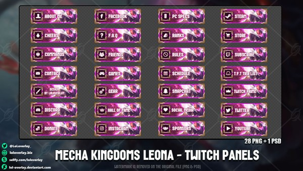 ✅ MECHA KINGDOMS LEONA - TWITCH PANELS