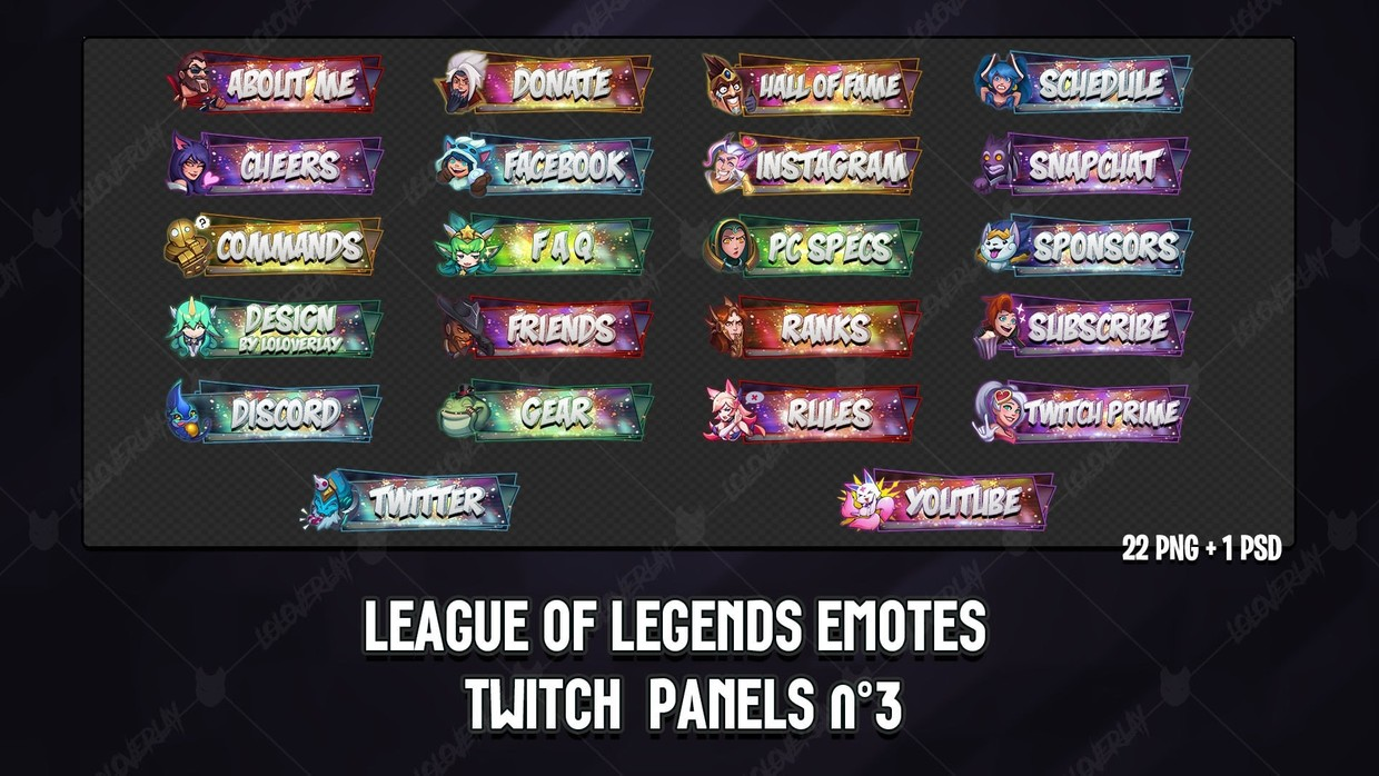 ✅ LEAGUE OF LEGENDS EMOTES - TWITCH PANELS #3
