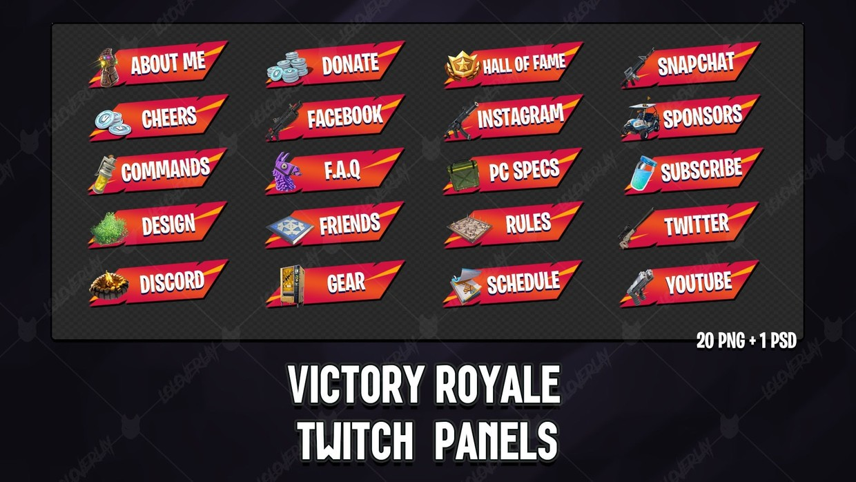 ✅ [ORANGE x RED] VICTORY ROYALE 2018 - TWITCH PANELS