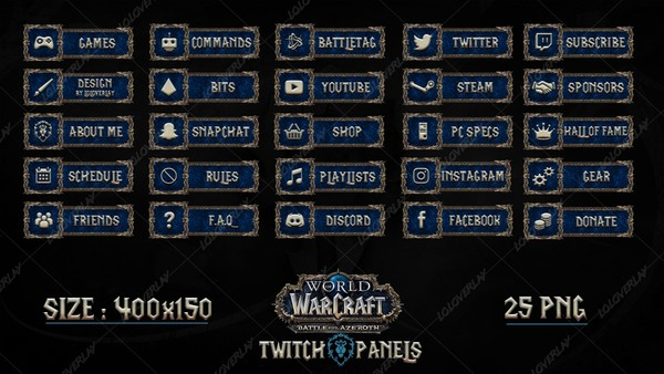 ✅ [ALLIANCE]  WOW : BATTLE FOR AZEROTH - TWITCH PANELS