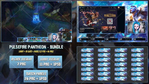 🔥 PULSEFIRE PANTHEON - STREAM BUNDLE [46 PNG + 2 PSD]