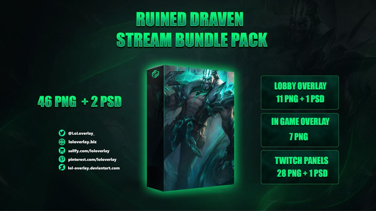 ☠️🔥RUINED DRAVEN - STREAM BUNDLE [46 PNG + 2 PSD]