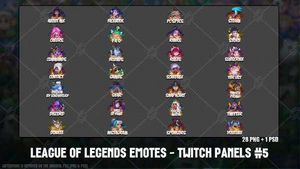 ✅LEAGUE OF LEGENDS EMOTES - TWITCH PANELS #5