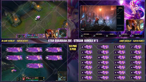 🔥 STAR GUARDIAN ZOE - STREAM BUNDLE #2 [53 PNG + 3 PSD]
