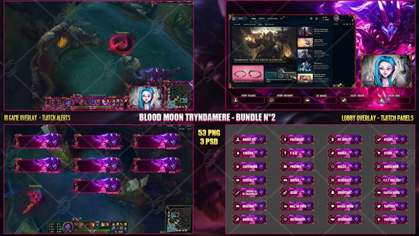 🔥 BLOOD MOON TRYNDAMERE - STREAM BUNDLE N°2 [53 PNG + 3 PSD]