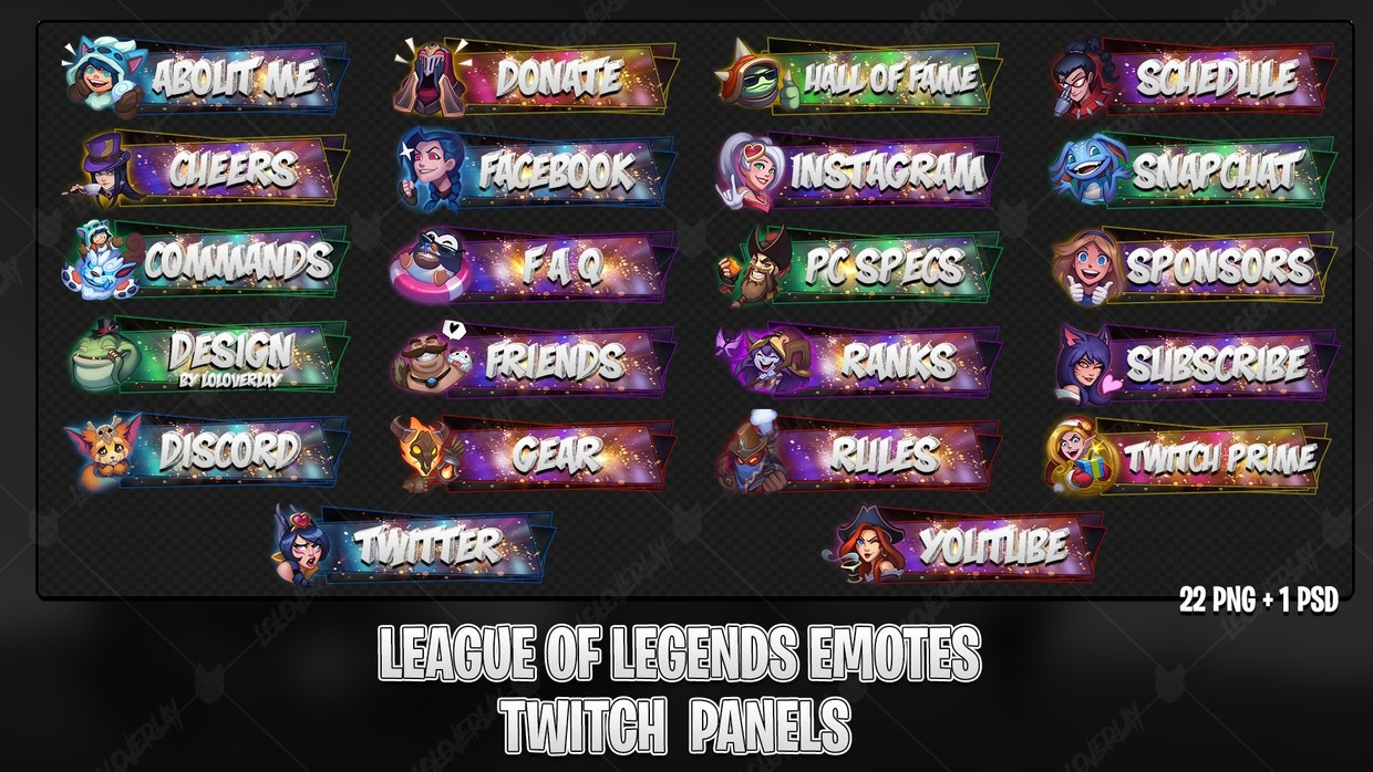 ✅ LEAGUE OF LEGENDS EMOTES - TWITCH PANELS #2