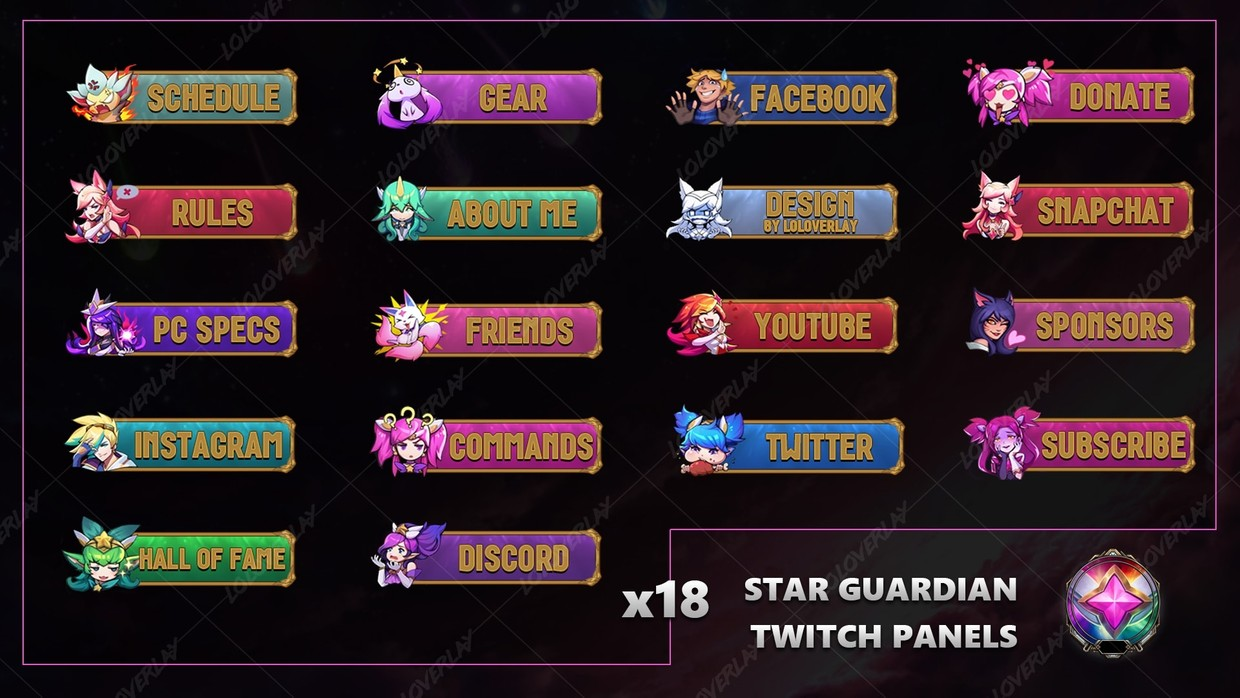 ✅ STAR GUARDIAN - TWITCH PANELS