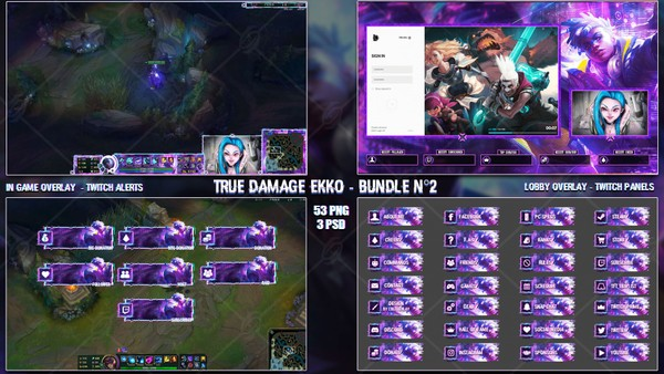 🔥 TRUE DAMAGE EKKO - STREAM BUNDLE #2 [53 PNG + 3 PSD]