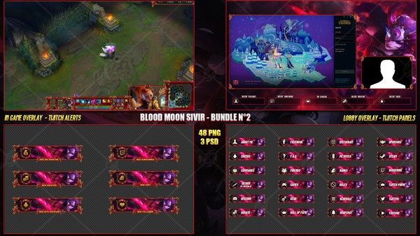 🔥 BLOOD MOON SIVIR - STREAM BUNDLE #2 [48 PNG + 3PSD]