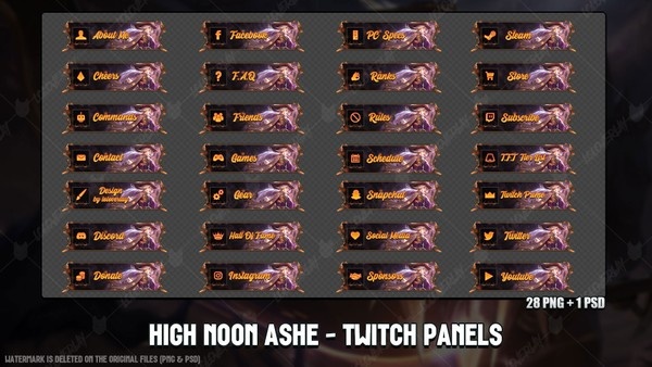 ✅🎃 HIGH NOON ASHE - TWITCH PANELS