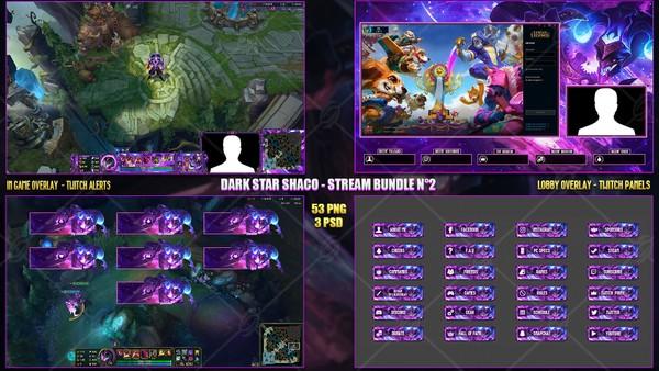 🔥 DARK STAR SHACO -  STREAM BUNDLE N°2 [49 PNG + 3 PSD]