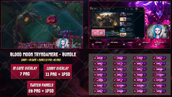 🔥 BLOOD MOON TRYNDAMERE - STREAM BUNDLE [46 PNG + 2 PSD]