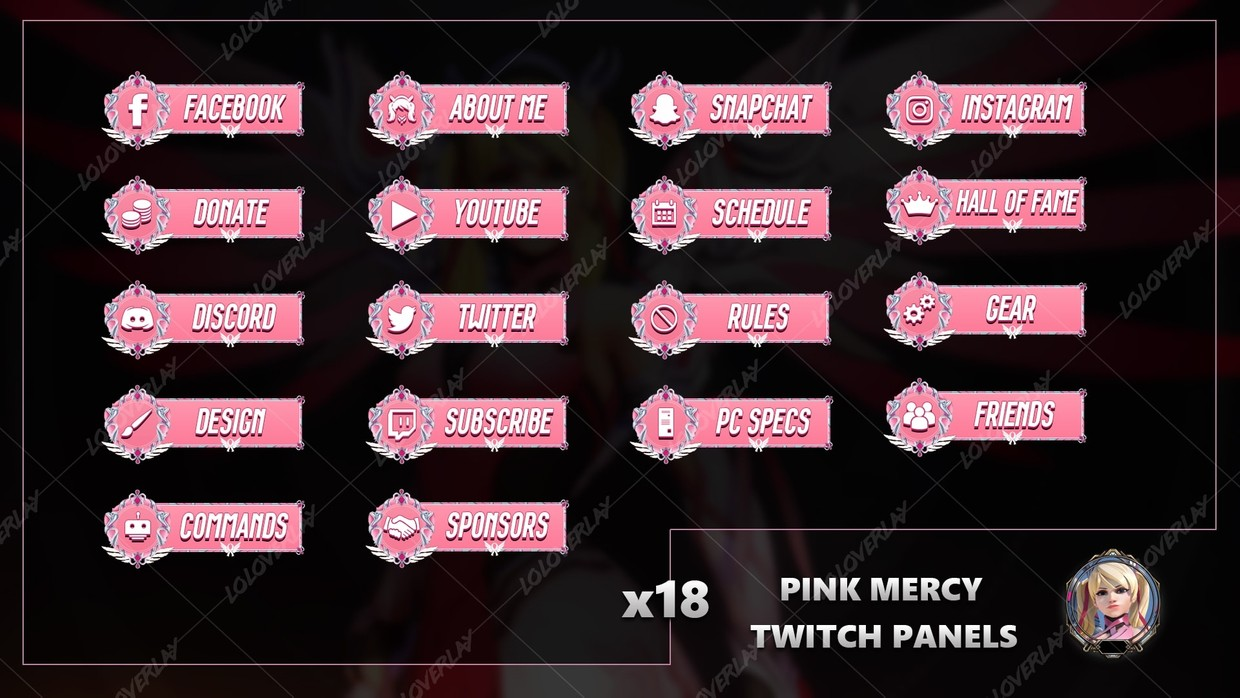 ✅ PINK MERCY - TWITCH PANELS