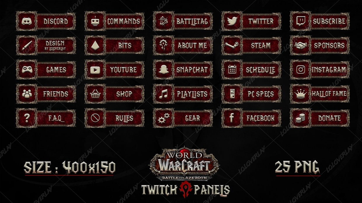 ✅[HORDE]  WOW : BATTLE FOR AZEROTH - TWITCH PANELS