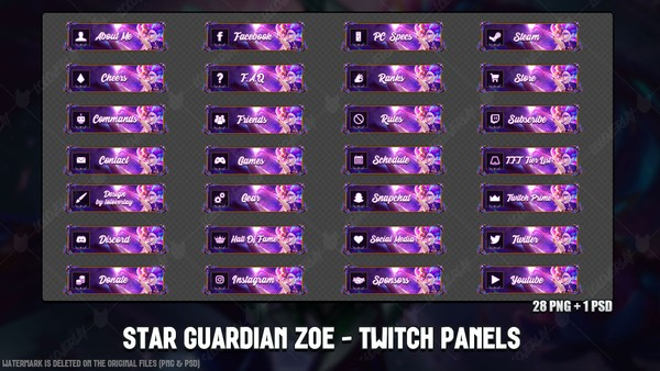 ✅ STAR GUARDIAN ZOE - TWITCH PANELS