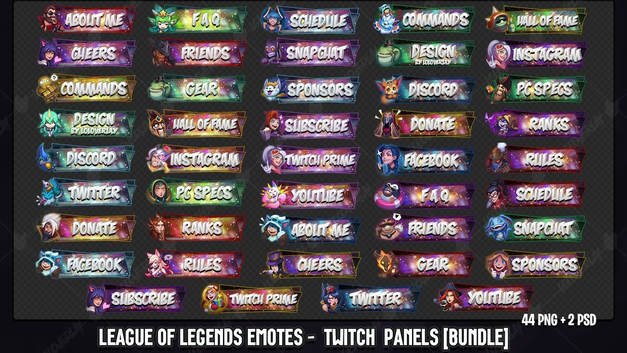 🔥 LEAGUE OF LEGENDS EMOTES - TWITCH PANELS BUNDLE