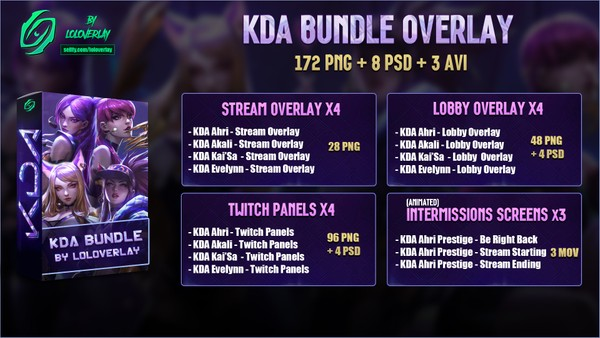 🔥✅ KDA - BUNDLE [172 PNG + 8 PSD + 3 AVI]