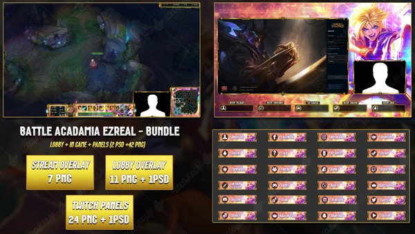 🔥BATTLE ACADAMIA EZREAL - BUNDLE [42 PNG + 2 PSD]