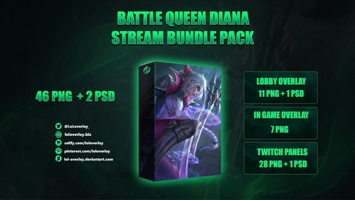 ⚔️BATTLE QUEEN DIANA - STREAM BUNDLE [46 PNG + 2 PSD]