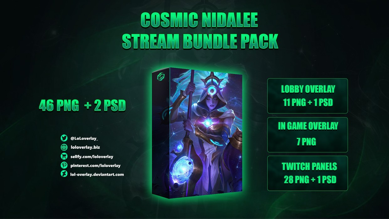 💫COSMIC NIDALEE - STREAM BUNDLE [46 PNG + 2 PSD]