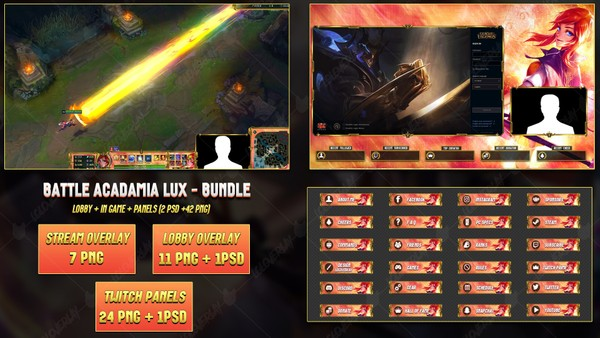 🔥 BATTLE ACADAMIA LUX - BUNDLE [42 PNG + 2 PSD]