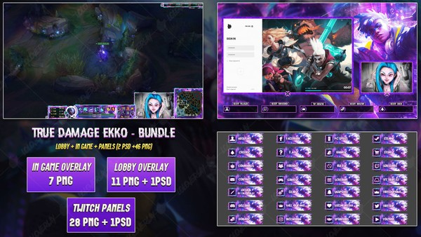 🔥 TRUE DAMAGE EKKO - STREAM BUNDLE [46 PNG + 2 PSD]